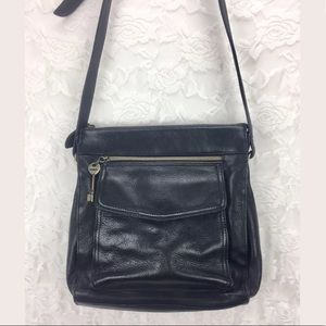 Fossil Soft Black Pebbled Leather Bag Purse
